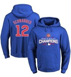 MLB Men's Chicago Cubs #12 Kyle Schwarber Royal 2016 World Series Champions Walk Pullover Hoodie
