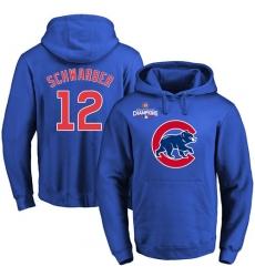 MLB Men's Chicago Cubs #12 Kyle Schwarber Royal Team Color Primary Logo Pullover Hoodie