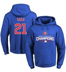 MLB Men's Chicago Cubs #21 Sammy Sosa Royal 2016 World Series Champions Walk Pullover Hoodie