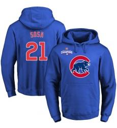 MLB Men's Chicago Cubs #21 Sammy Sosa Royal Team Color Primary Logo Pullover Hoodie