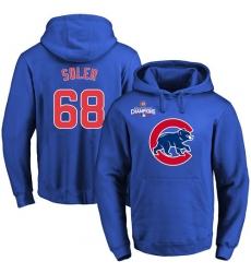 MLB Men's Chicago Cubs #68 Jorge Soler Royal Team Color Primary Logo Pullover Hoodie