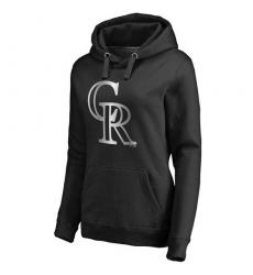 MLB Colorado Rockies Women's Platinum Collection Pullover Hoodie - Black