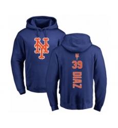 Baseball New York Mets #39 Edwin Diaz Royal Blue Backer Pullover Hoodie