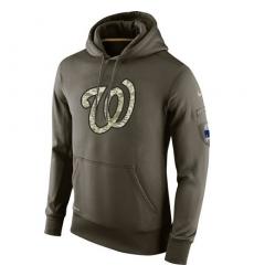 MLB Men's Washington Nationals Nike Olive Salute To Service KO Performance Hoodie