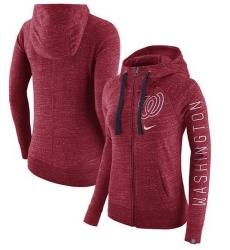 MLB Washington Nationals Nike Women's Vintage Full-Zip Hoodie - Heather Red