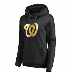 MLB Washington Nationals Women's Gold Collection Pullover Hoodie - Black