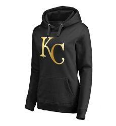 MLB Kansas City Royals Women's Gold Collection Pullover Hoodie - Black