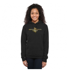 NBA Houston Rockets Women's Gold Collection Ladies Pullover Hoodie - Black