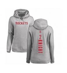 NBA Women's Nike Houston Rockets #2 Brandon Knight Ash Backer Pullover Hoodie