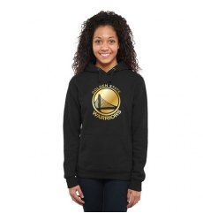 NBA Golden State Warriors Women's Gold Collection Ladies Pullover Hoodie - Black
