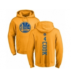 NBA Nike Golden State Warriors #4 Quinn Cook Gold One Color Backer Pullover Hoodie