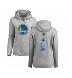 NBA Women's Nike Golden State Warriors #4 Quinn Cook Ash Backer Pullover Hoodie