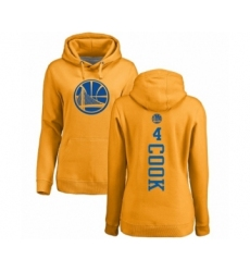 NBA Women's Nike Golden State Warriors #4 Quinn Cook Gold One Color Backer Pullover Hoodie