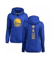 NBA Women's Nike Golden State Warriors #4 Quinn Cook Royal Blue Backer Pullover Hoodie