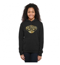 NBA New Orleans Pelicans Women's Gold Collection Ladies Pullover Hoodie - Black