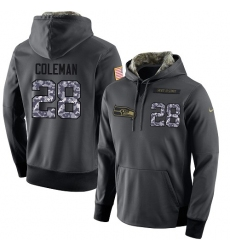 NFL Men's Nike Seattle Seahawks #28 Justin Coleman Stitched Black Anthracite Salute to Service Player Performance Hoodie