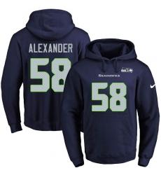 NFL Men's Nike Seattle Seahawks #58 D.J. Alexander Navy Blue Name & Number Pullover Hoodie