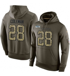 NFL Nike Seattle Seahawks #28 Justin Coleman Green Salute To Service Men's Pullover Hoodie