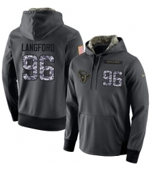 NFL Men's Nike Houston Texans #96 Kendall Langford Stitched Black Anthracite Salute to Service Player Performance Hoodie
