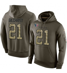 NFL Nike Houston Texans #21 Marcus Gilchrist Green Salute To Service Men's Pullover Hoodie
