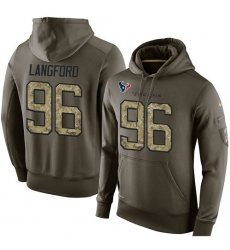 NFL Nike Houston Texans #96 Kendall Langford Green Salute To Service Men's Pullover Hoodie