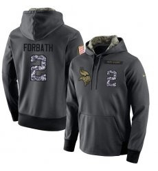 NFL Men's Nike Minnesota Vikings #2 Kai Forbath Stitched Black Anthracite Salute to Service Player Performance Hoodie