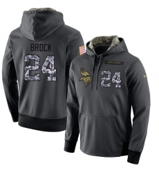NFL Men's Nike Minnesota Vikings #24 Tramaine Brock Stitched Black Anthracite Salute to Service Player Performance Hoodie