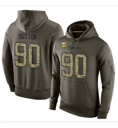 NFL Nike Minnesota Vikings #90 Will Sutton Green Salute To Service Men's Pullover Hoodie