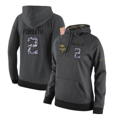 NFL Women's Nike Minnesota Vikings #2 Kai Forbath Stitched Black Anthracite Salute to Service Player Performance Hoodie