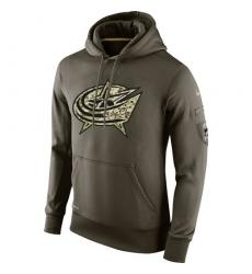 NHL Men's Columbus Blue Jackets Nike Olive Salute To Service KO Performance Hoodie