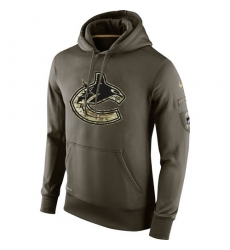 NHL Men's Vancouver Canucks Nike Olive Salute To Service KO Performance Hoodie