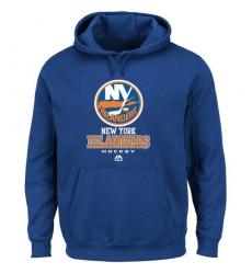 NHL Men's New York Islanders Majestic Critical Victory VIII Fleece Hoodie - Royal Blue