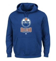 NHL Men's Edmonton Oilers Majestic Critical Victory VIII Fleece Hoodie - Blue