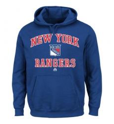 NHL Men's New York Rangers Majestic Heart & Soul Hoodie - Royal Blue