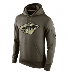 NHL Men's Minnesota Wild Nike Olive Salute To Service KO Performance Hoodie