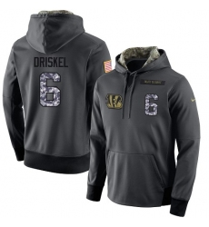 NFL Men's Nike Cincinnati Bengals #6 Jeff Driskel Stitched Black Anthracite Salute to Service Player Performance Hoodie