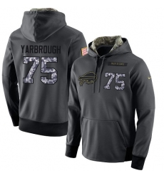 NFL Men's Nike Buffalo Bills #75 Eddie Yarbrough Stitched Black Anthracite Salute to Service Player Performance Hoodie