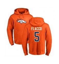 Football Denver Broncos #5 Joe Flacco Orange Name & Number Logo Pullover Hoodie