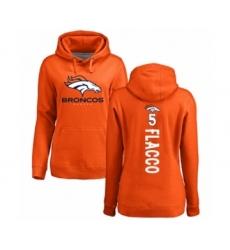 Football Women's Denver Broncos #5 Joe Flacco Orange Backer Pullover Hoodie