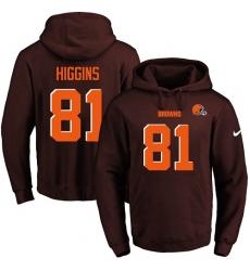 NFL Men's Nike Cleveland Browns #81 Rashard Higgins Brown Name & Number Pullover Hoodie