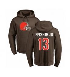 NFL Nike Cleveland Browns #13 Odell Beckham Jr. Brown Name & Number Logo Pullover Hoodie