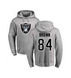 Football Oakland Raiders #84 Antonio Brown Ash Name & Number Logo Pullover Hoodie