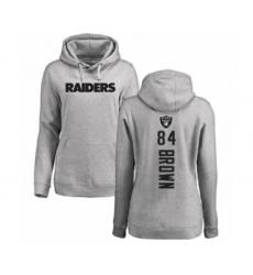 Football Women's Oakland Raiders #84 Antonio Brown Ash Backer Pullover Hoodie