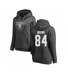 Football Women's Oakland Raiders #84 Antonio Brown Ash One Color Pullover Hoodie