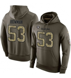 NFL Nike Oakland Raiders #53 NaVorro Bowman Green Salute To Service Men's Pullover Hoodie