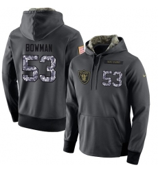 NFL Nike Oakland Raiders #53 NaVorro Bowman Stitched Black Anthracite Salute to Service Player Performance Hoodie