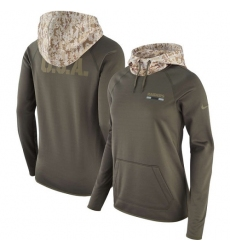 NFL Women's Oakland Raiders Nike Olive Salute to Service Performance Pullover Hoodie