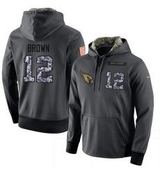 NFL Men Nike Arizona Cardinals #12 John Brown Stitched Black Anthracite Salute to Service Player Performance Hoodie