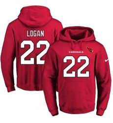 NFL Men Nike Arizona Cardinals #22 T. J. Logan Red Name & Number Pullover Hoodie