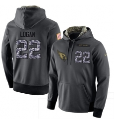 NFL Men Nike Arizona Cardinals #22 T. J. Logan Stitched Black Anthracite Salute to Service Player Performance Hoodie